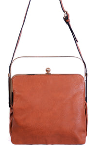 Ladies Triple Compartment Camel Bag with Metallic Handle