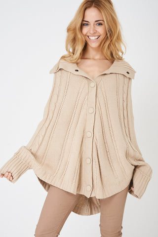 Ladies Beige Chunky Cable Knit Poncho