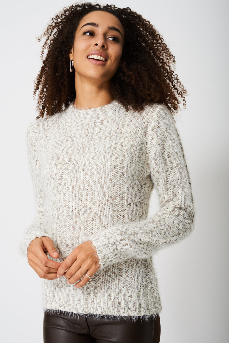 Ladies Chunky Jumper In Fluffy Rib Ex-Branded