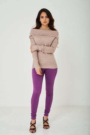 Ladies Cowl Neck Soft Knit Jumper in Pink