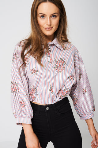 Balloon Sleeve Crop Top, Tops - First Impression UK