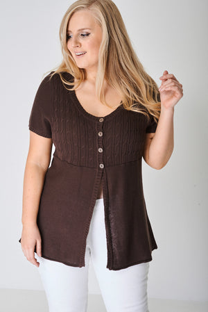 PLUS Knitted Four Button Top - First Impression UK