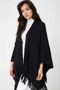 Black Poncho With A Fringed Hem, Knitwear - First Impression UK