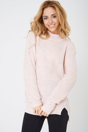 Ladies High Neck Pink Jumper Ex Brand
