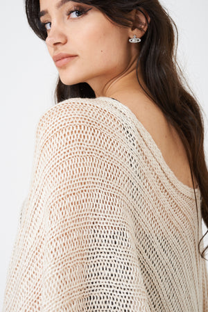 Beige Poncho with Metallic Insert, Knitwear - First Impression UK