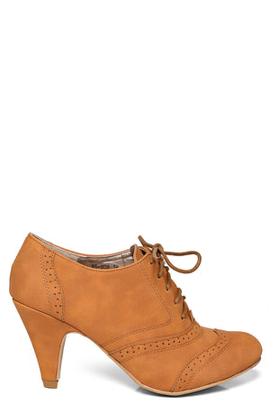 Brogue Lace Up Ankle Boot in Camel, High Heels - First Impression UK