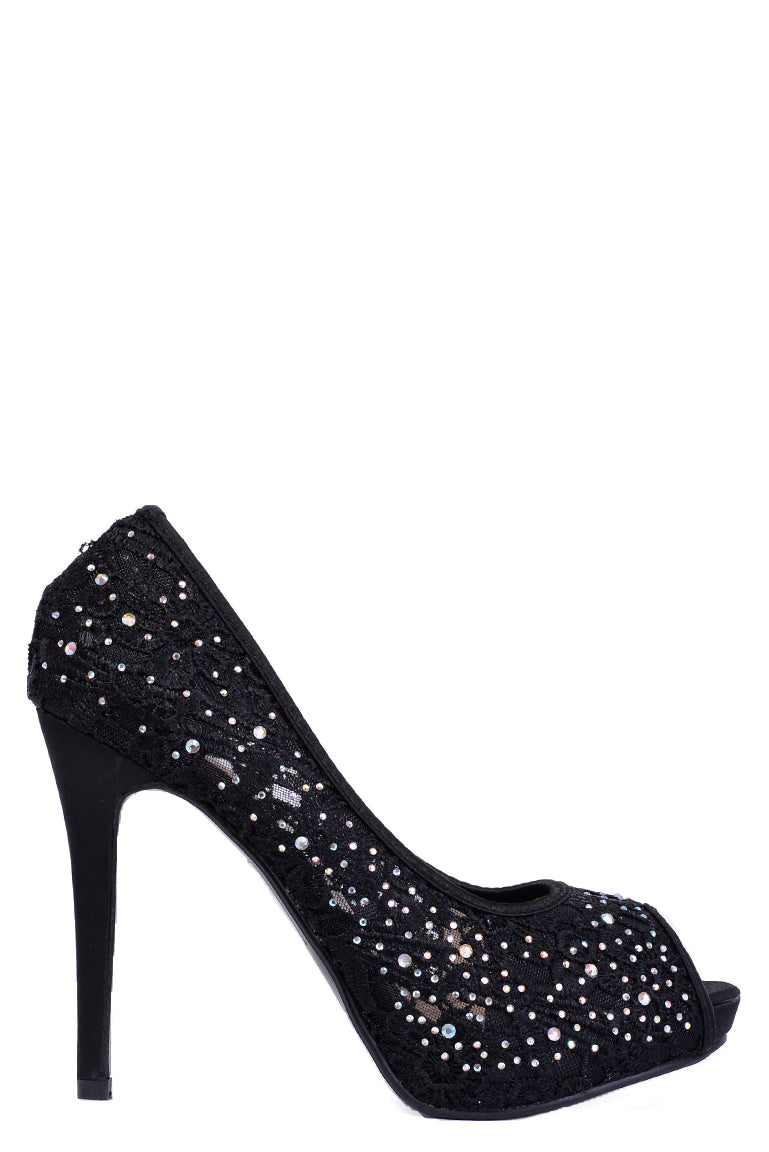 Black Lace Stiletto Heel Peep Toe Sandals, High Heels - First Impression UK