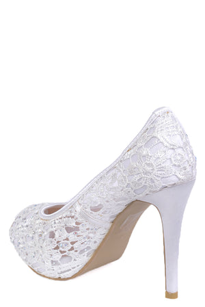 Bridal Lace Stiletto Heel Peep Toe Sandals, High Heels - First Impression UK