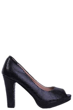 Black Snakeskin Peep Toe High Heels, High Heels - First Impression UK