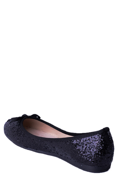 Black Glitter Ballet Pumps, Flats - First Impression UK
