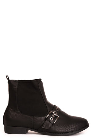 Black Ankle Buckle Boots, Boots - First Impression UK