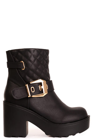 Black Quilted Ankle Boot with Buckle Detail, Boots - First Impression UK