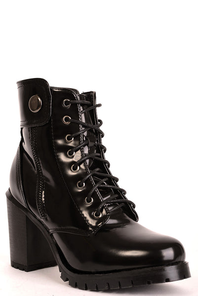 Black Patent Ankle Boots, High Heels - First Impression UK