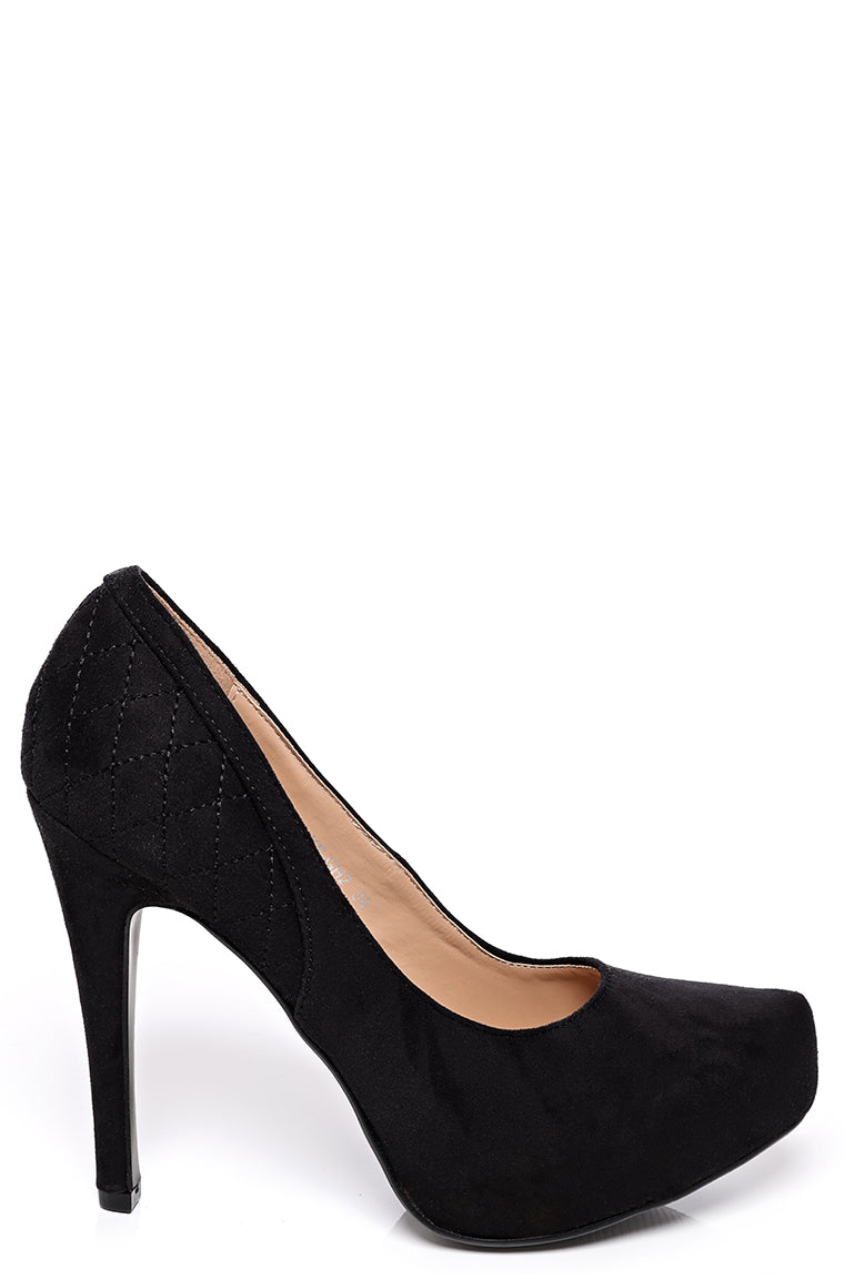 Black Faux Suede Court Shoes, High Heels - First Impression UK