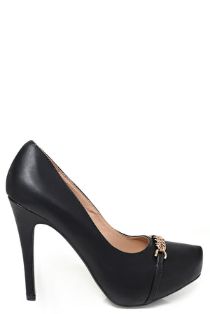 Ladies Chain Detail High Heel Shoes In Black