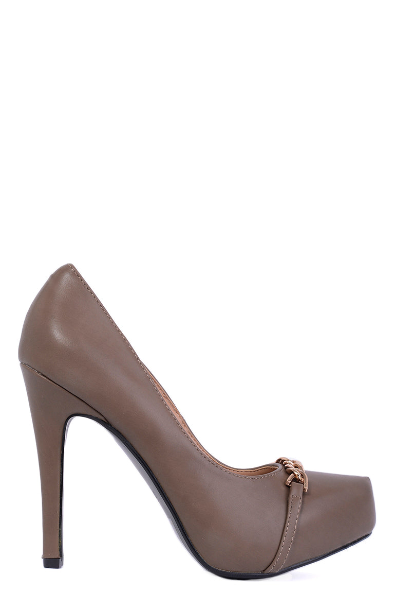 Chain Detail High Heels In Mocha