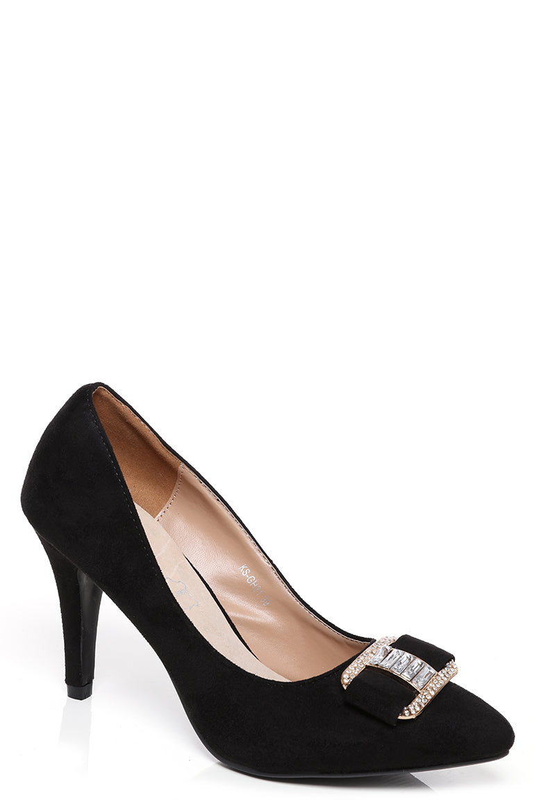 Black Faux Suede Embellished Court Shoes, High Heels - First Impression UK