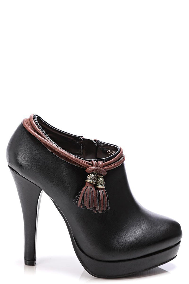Black Ankle Boots with Tassel Detail, High Heels - First Impression UK