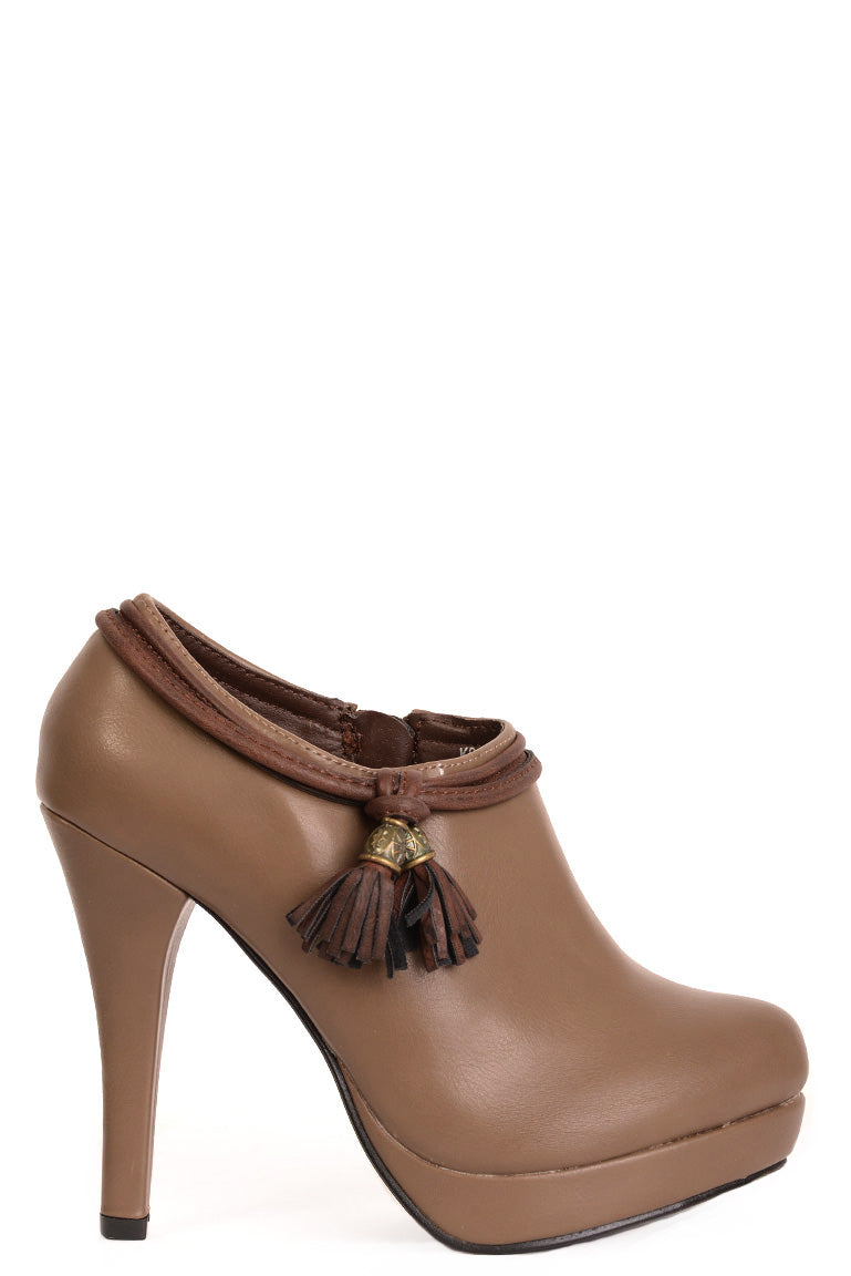 Khaki Ankle Boots with Tassel Detail