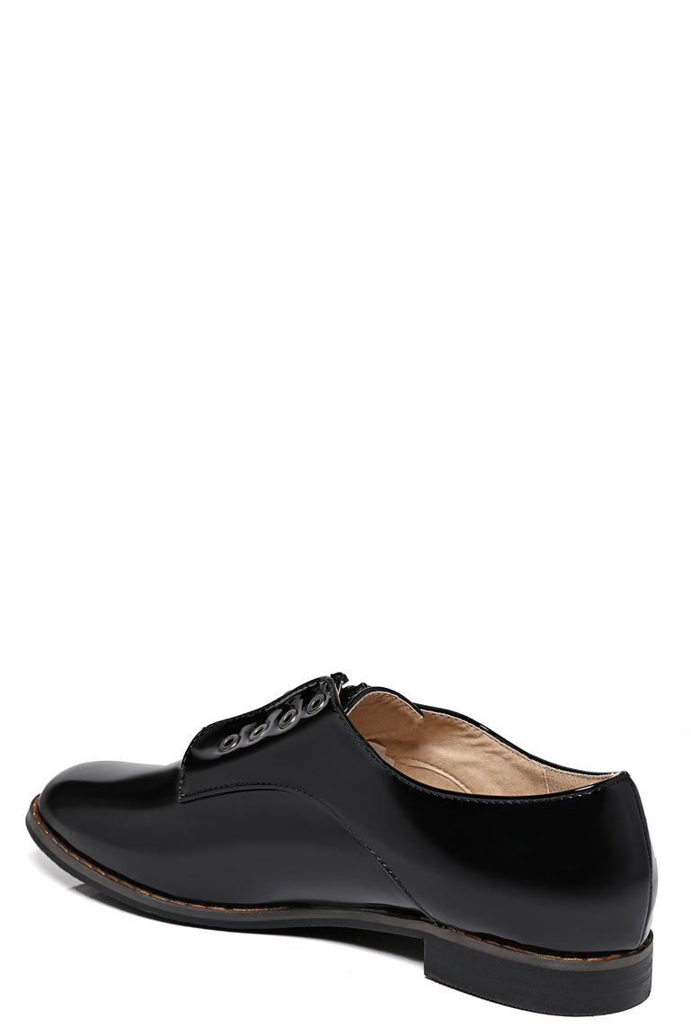 Zip Front Patent Brogues In Black - First Impression UK