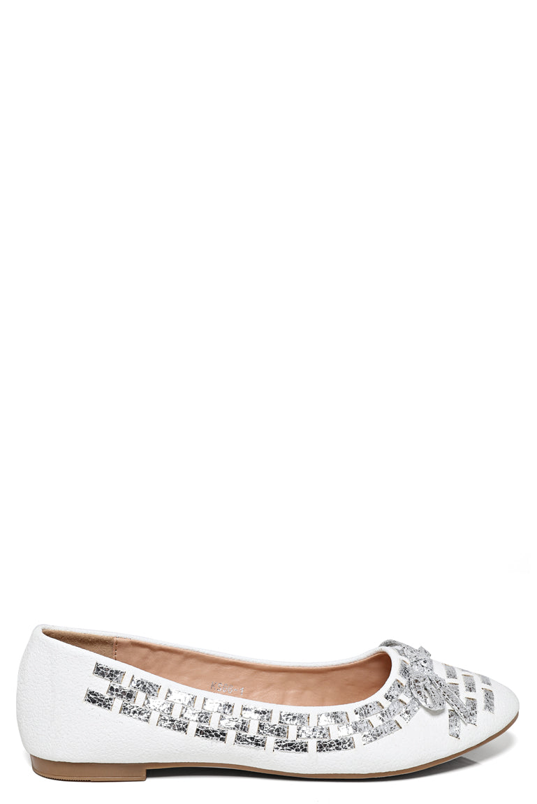 Ladies White And Silver Ballerina Flats