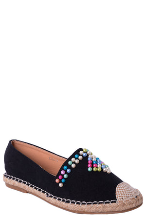 Beaded Black Espadrilles, Flats - First Impression UK