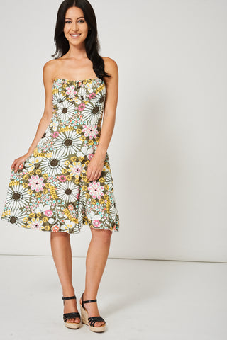 Bandeau Dress With Floral Print - First Impression UK