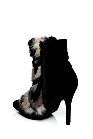 Black Stiletto Ankle Boots With Faux Fur Detail, High Heels - First Impression UK