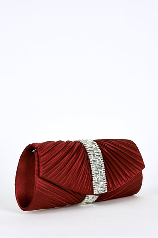 Diamante Detail Creased Clutch Bag - First Impression UK