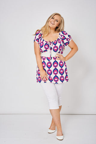 Abstract Pattern Tie Front Tunic Top, Tops - First Impression UK