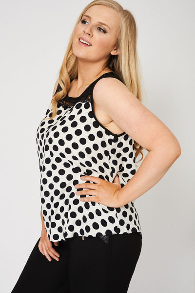 Black And Cream Sleeveless Top, Tops - First Impression UK