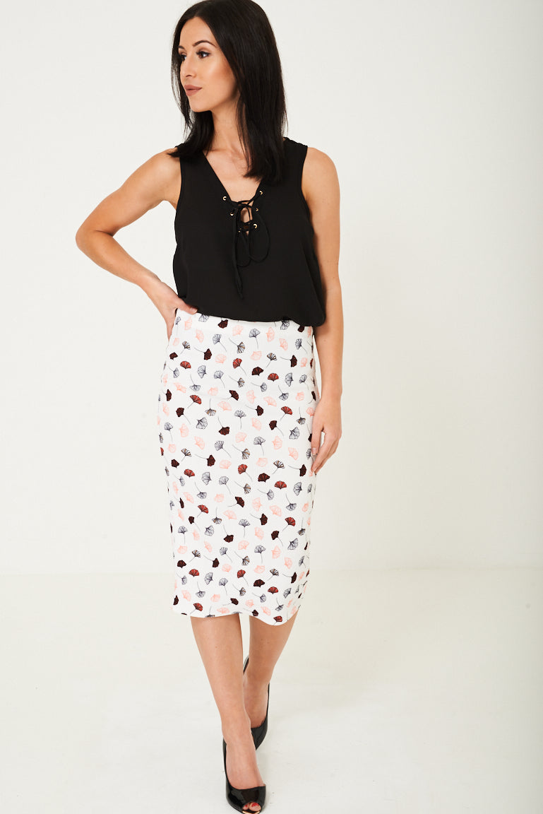 Ladies Pencil Skirt in Poppy Flower Print