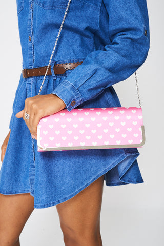 Cute Clutch Bag In Heart Print
