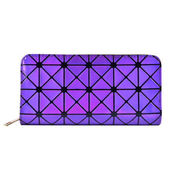 Purple Fashion Women Triangular Pattern Solid Purse