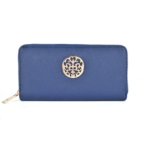 Navy Hollow Metal Decoration Women Purse