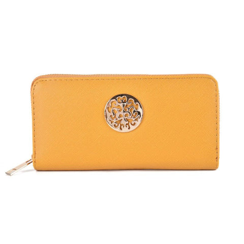Yellow Hollow Metal Decoration Women Purse - First Impression UK