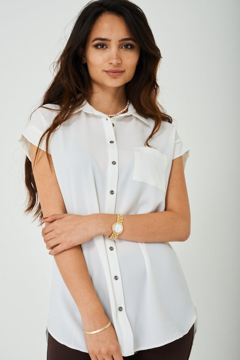 Ladies Longline Shirt in Off-White
