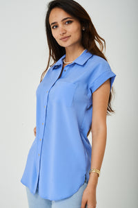 Ladies Longline Shirt in Pastel Blue
