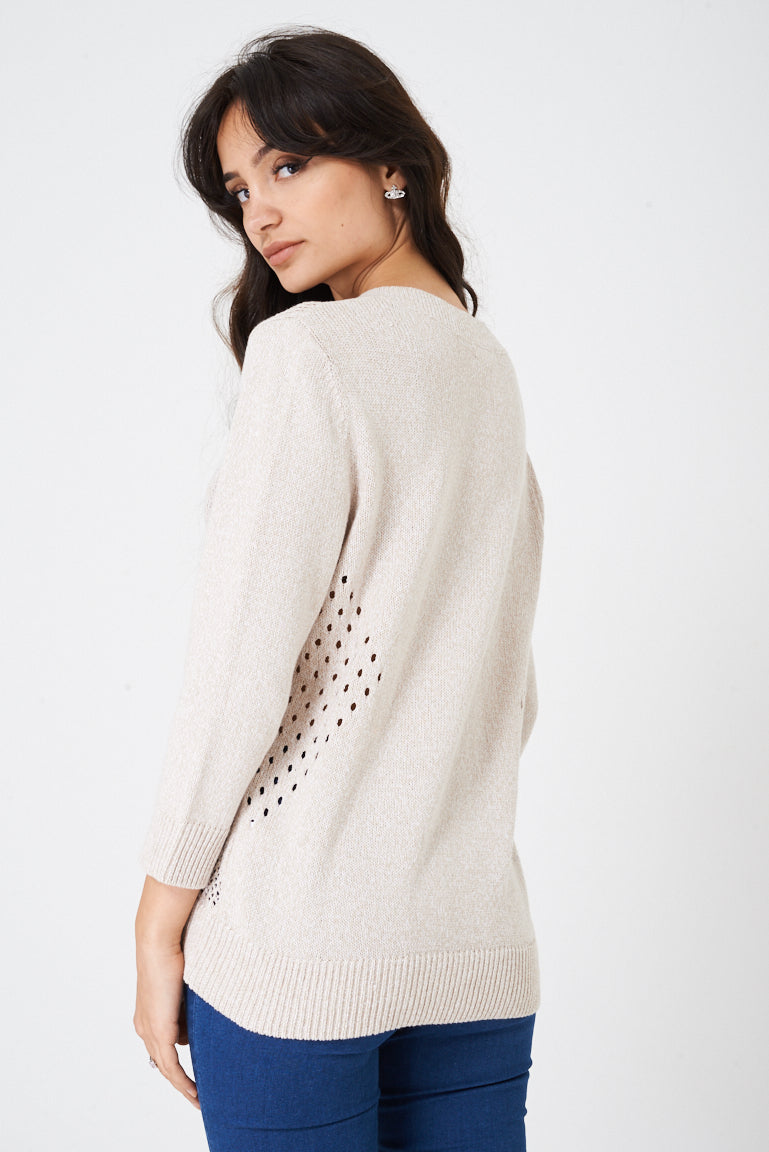 Ladies Beige Crochet Knitted Jumper Ex Brand