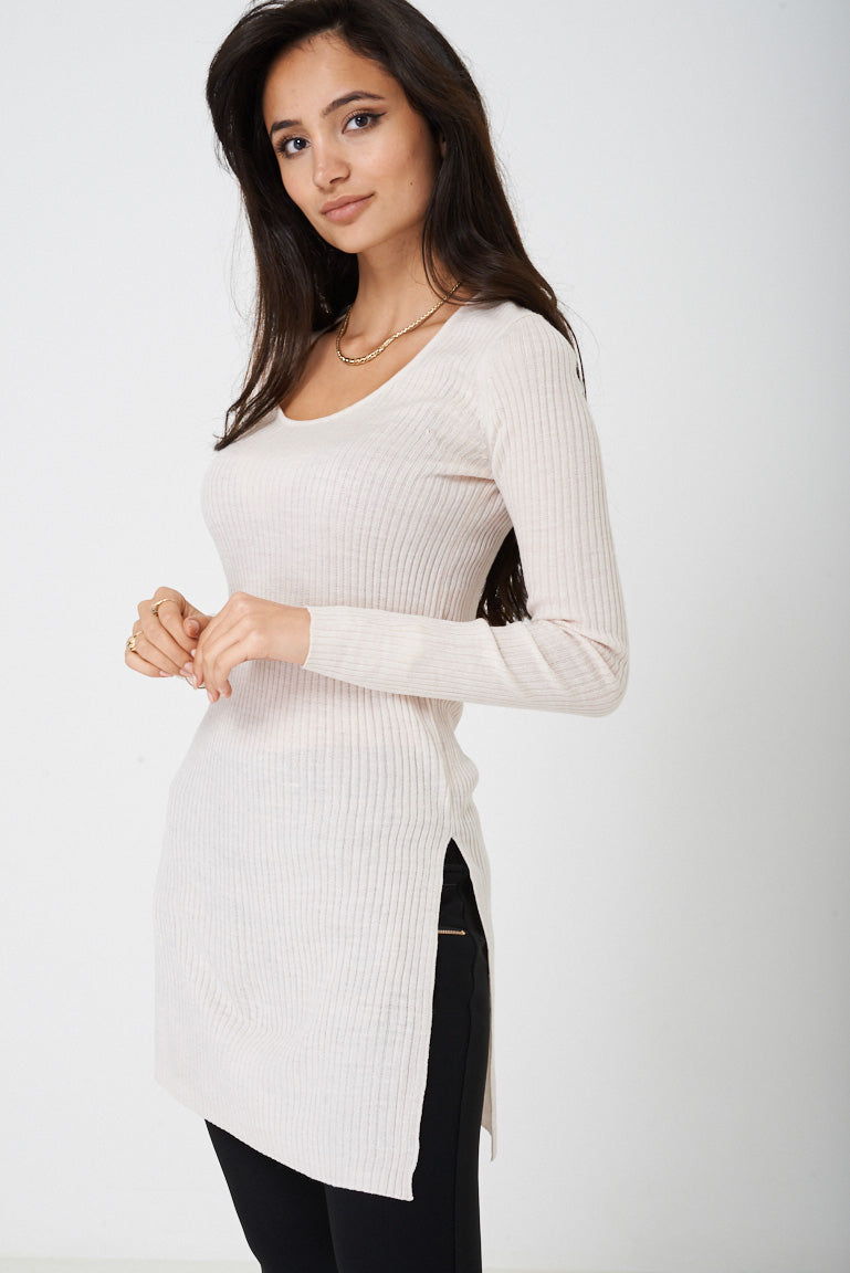Ladies Ribbed Top with Side Slit Ex Brand