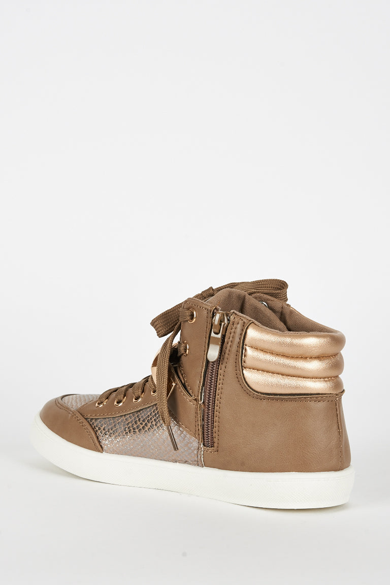 Brown Studded Hi Top Trainer, Trainers - First Impression UK