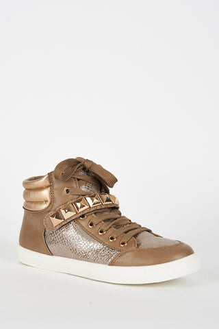 Brown Studded Hi Top Trainer - First Impression UK