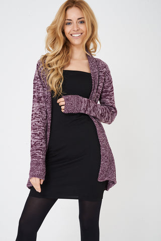 Ladies Purple Open Front Cardigan in Mixed Yarn