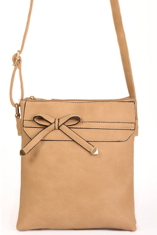 Beige Double Compartment Crossbody Bag