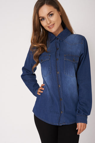 Blue Denim Double Pocket Shirt Ex-Branded Available In Plus Sizes - First Impression UK