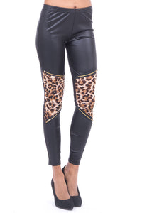 Satin Look Leggings with Leopard Print Detail