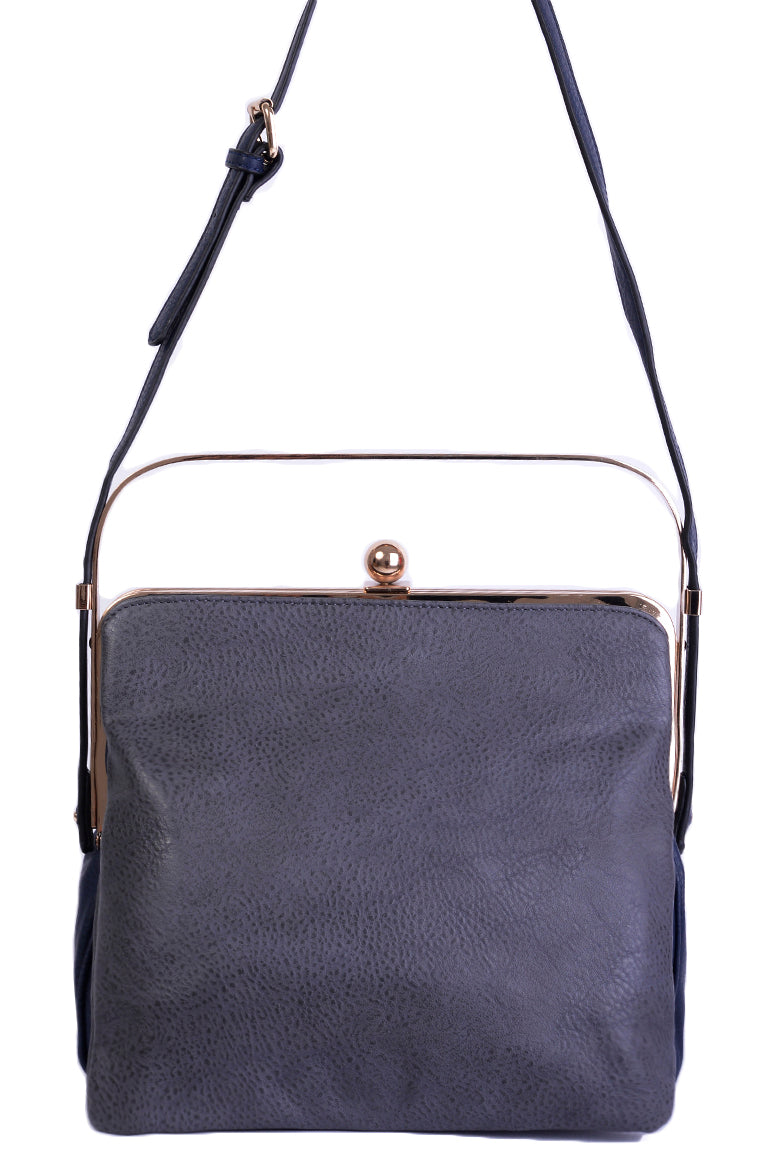 Triple Compartment Grey Bag with Metallic Handle