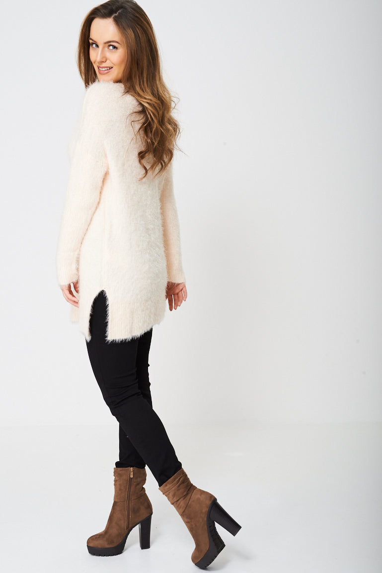 Ladies Longline Fluffy Jumper in Pink