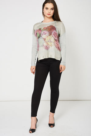 Grey Knitted Top With Floral Print - First Impression UK