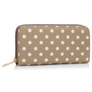 Nude Polka Dots Printed zip purse